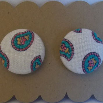 """Large Fabric Button Earrings (3/4"""") - Vintage Paisley Fabric - White/Pink/Teal"""