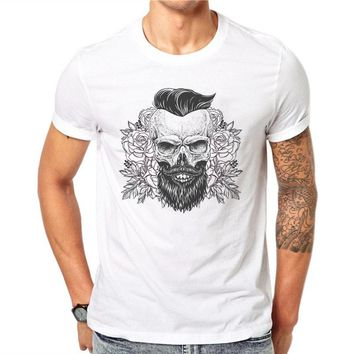 100% Cotton Summer Sketch Beard Skull Design Men T Shirts Fashion Harajuku Design Man Short Sleeve Tops Tees Clothes