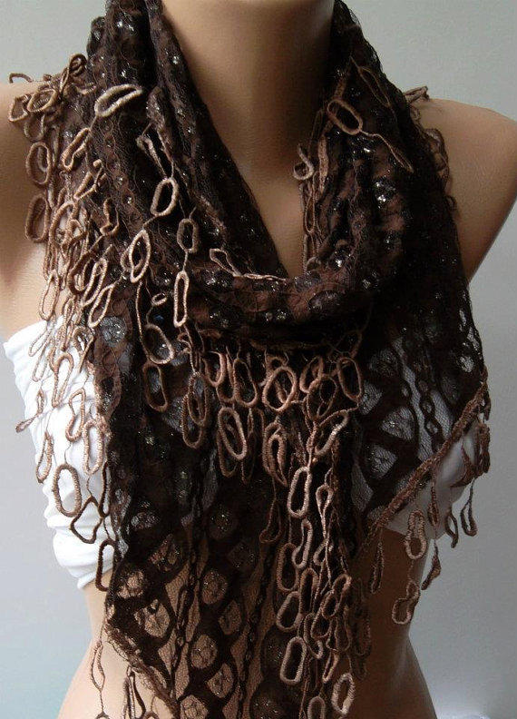 Brown Lace and Elegance Shawl / Scarf - with Lace Edge..