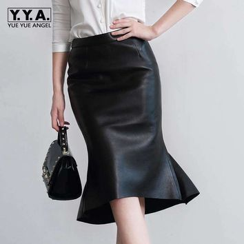 2018 New Fashion Sexy OL Style Formal Ruffles Trumpet Knee Length Genuine Leather Women Female Skirts Sheepskin Black Plus Size