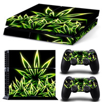 Psychedelic Weed Skin Sticker for PS4 Playstation 4 Console +2 Controller Decals