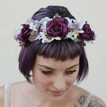 Violet Lavender Rose Crown - Radiant Orchid, Purple, Homecoming, Bridal Flower Crown, Floral Crown, Flower Crown, Plum, Flower Girl, Circlet
