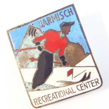 Ski Pin Garmisch Recreational Center Bavaria Germany Post WWII US Armed Forces R & R Spot c. 1950 Enamel Pin Souvenir for Troops in Europe