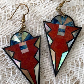 Vintage Geometric Dangle Earrings with Mother of Pearl Inlay