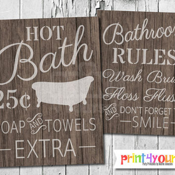 Bathroom Sign // Instant Download 8x10 Printable Wooden Rustic Bathroom Sign // Bathroom Rules // Hot Bath Sign