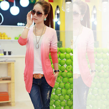 Women Gradient Color Personality Knit Cardigan Sweater Coat Shawl Knitwear TopsFree&Drop Shipping