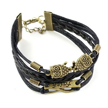 Rope Bracelets Wrap Bracelets Bangle Vintage Braided Anchors Rudder Metal Leather Bracelet