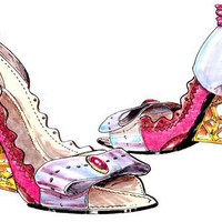 pink and lavender shoe with gold honeycomb heel by williamkdavis