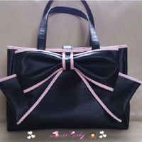 Lolita big bow square soft hand  bag - black/purple P140452