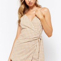 Gingham Wrap-Front Romper
