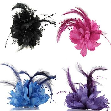 Hot Women Ladies Flower Feather Bead Corsage Hair Clips Fascinator Bridal Hairband Brooch Pin K2 B3