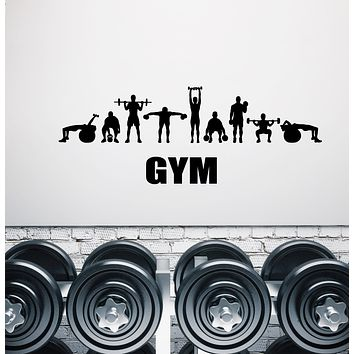 Vinyl Wall Decal Sport Fitness Gym Sign Word Barbell Dumbbell Stickers (3226ig)