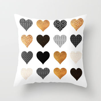 Gold, black, white hearts Throw Pillow by Maria Kritzas