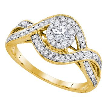 14kt Yellow Gold Womens Princess Diamond Solitaire Twist Bridal Wedding Engagement Ring 1/2 Cttw