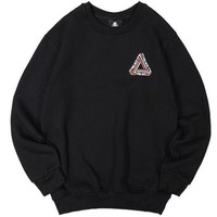 Palace Classic Triangle Printing Men And Women Cotton Round Neck Hooded Sweater