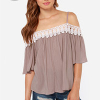 LULUS Exclusive In Full Swing Taupe Lace Top