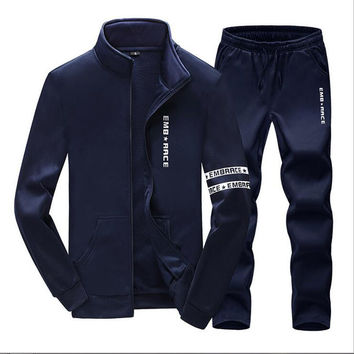 Plus Size Mens Sweat Suits Zipper Sweatshirts Jackets+Pants Jogger Sporting Suits Brand Mens Tracksuit Sets Sudaderas Hombre