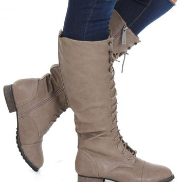 Lace Up Knee Boots Beige