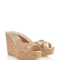 Jimmy Choo Patent Leather Wedge Sandal in Nude - Avenue K
