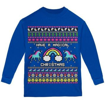 ONETOW Retro 90s Rainbow Unicorn Magical Ugly Christmas Sweater Youth Long Sleeve T Shirt
