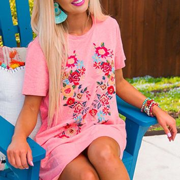 Cabo Chic Embroidered T-shirt Dress in Calypso