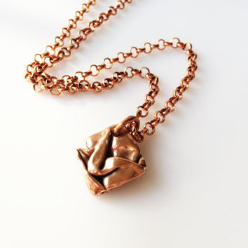 Unisex Copper Pendant Necklace, Folded Copper Diamond Shaped Pendant on Heavy Rolo Chain, 20 inch necklace, Artisan Handmade Copper Jewelry