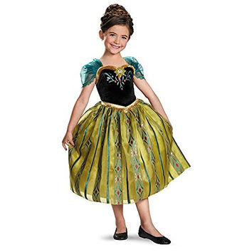 Disguise Disney's Frozen Anna Coronation Gown Deluxe Girls Costume, X-Small/3T-4T