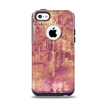 The Pink Paint Splattered Brick Wall Apple iPhone 5c Otterbox Commuter Case Skin Set