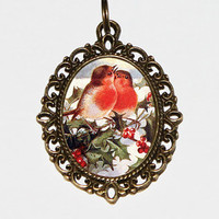 Christmas Birds Necklace, Christmas Jewelry, Robin Birds, Bird Jewelry, Robins, Christmas Holly, Oval Pendant
