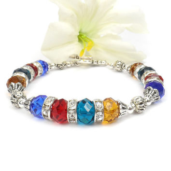 Crystal Birthstone Bracelet: Mothers Day Gift For Mom