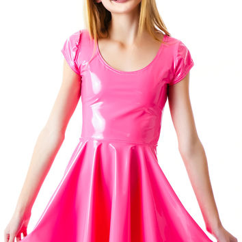 DEVOWEVO Bubblicious Skater Dress Bubblegum Pink