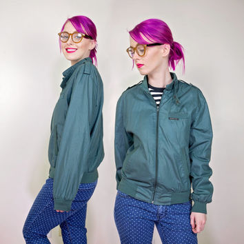 vintage Members Only jacket / 80s lightweight bomber jacket / dark green 80s windbreaker jacket