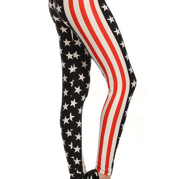 Always Fashionable USA Flag Printed Leggings - Red White and Blue Leggings