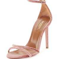Aquazzura Purist Velvet Sandal, Antique Rose