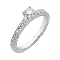 Round Diamond Engraved Solitaire Ring 5/8ctw - Size 7
