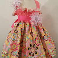 Girls Shirred Top Dress-Flower Crystals in Pink----#225