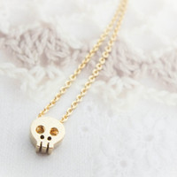 Gold Skull Necklace Tiny gold necklace Gold charm necklace Cute necklace Halloween necklace Gift mom Birthday Gift best friend Birthday