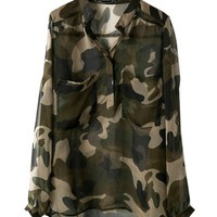 Sexy See-through Chiffon Blouse in Camouflage Color