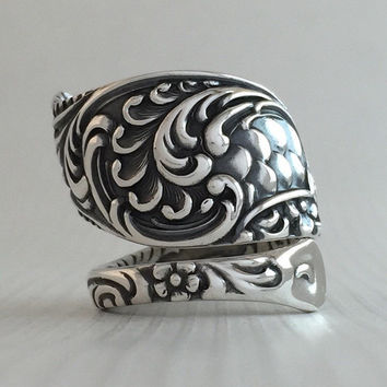 Size 7 Vintage Mermaid Sterling Silver Towle Spoon Ring