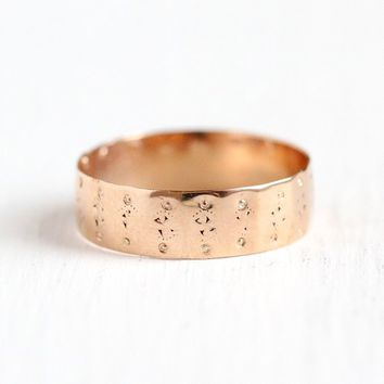 Victorian Cigar Band - Antique 10k Rose Gold Ring Size 4 Eternity Wedding - Vintage Late 1800s Thick Fine Flower Floral Engraved Jewelry