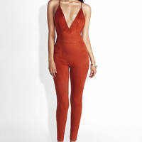 Rust Jenny Strappy Suede Jumpsuit