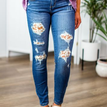 Judy Blue Lace Accent Skinny Jeans