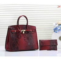 Hermes Fashion New Snake Texture Leather Women Two Piece Bag Handbag