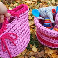 Girl Basket Set, Home Decor, Handmade Original Basket, Crochet Basket, Pink Basket for kids toys, Nice and original gift