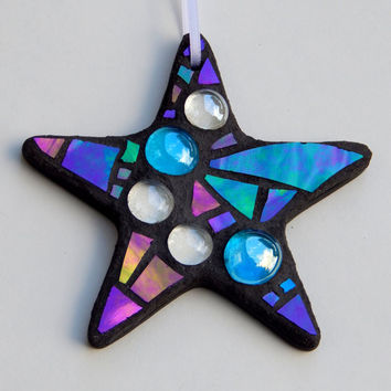 "Mosaic ""Everyday"" Ornament, Star, Iridescent Glass + Glass Nuggets, Handmade Stained Glass Mosaic Design"