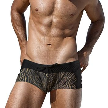 Animal Tiger Striped Printing Swimming Trunks For Men Swimwear Swimsuits Beach Boards Surfing Briefs Swim Wear Bikini