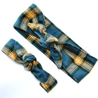 Mommy and Me Pre-tied Head Scarfs Blue Flannel Headbands for Mommy and Infant Toddler Baby Headband Hair Accessory