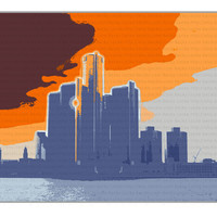 Detroit Orange Skyline 11x14 Graphic Illustration Free Shipping Global Digital