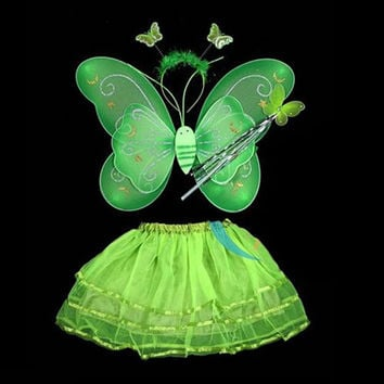 Butterfly Wing Wand Headband Tutu Skirts Cosplay Costume For Fairy Girl Kids Skirt SM6
