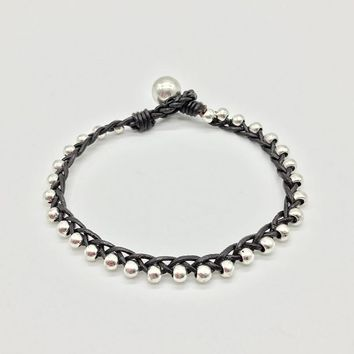 New style simple fashion  leather rope, hand weave, twist braid, beaded bracelet Vintage Bracelet for women B037